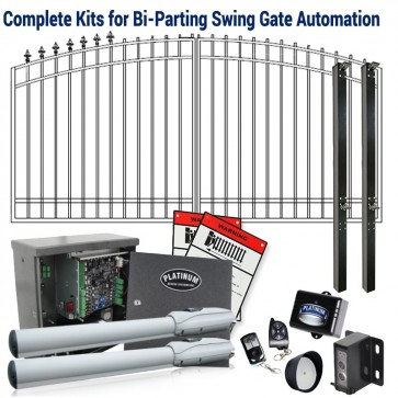 DuraGate KIT-14-ADF Arch Top 14' Bi-Parting Swing Gate & Automation Kit w/ Finial Stubs