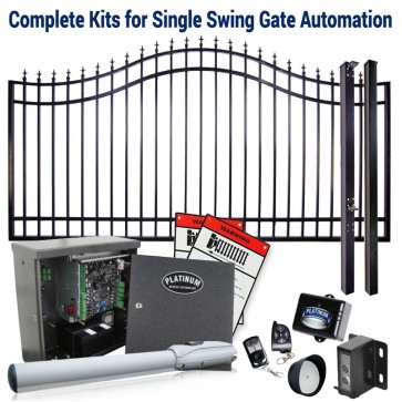 DuraGate KIT-14-BSF Bell Curve 14' Single Swing Gate & Automation Kit w/ Finial Stubs