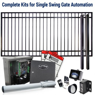 DuraGate KIT-12X6-FS Flat Top 12x6' Single Swing Gate & Automation Kit