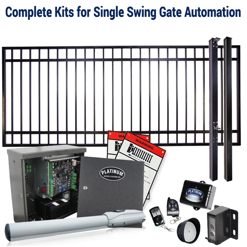 DuraGate KIT-10X5-FS Flat Top 10x5' Single Swing Gate & Automation Kit