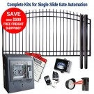 DuraGate KIT-14-ASF-SL Arch Top 14' Single Slide Gate & Automation Kit w/ Finial Stubs