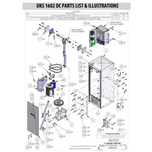 Replacement Parts Diagram - DoorKing 1602 with DC Option Parts Diagram