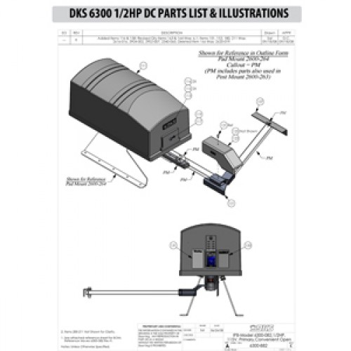 Replacement Parts Diagram - DoorKing 6300 1/2 HP with DC Option Parts Diagram