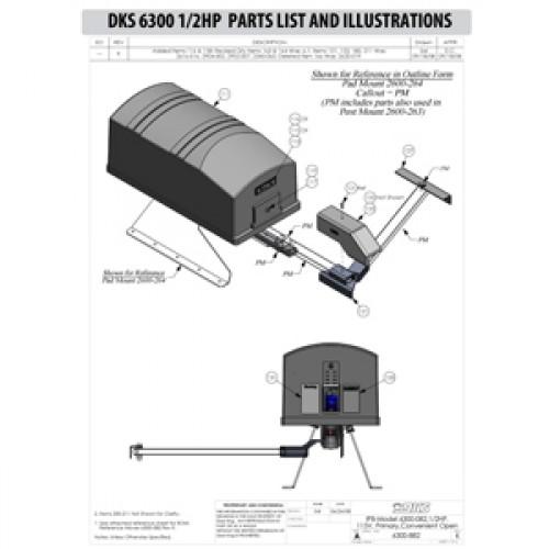 Replacement Parts Diagram - DoorKing 6300 1/2 HP Parts Diagram