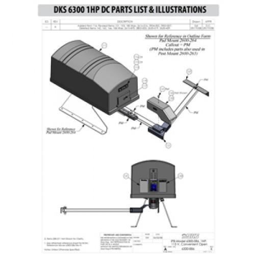 Replacement Parts Diagram - DoorKing 6300 1 HP with DC Option Parts Diagram