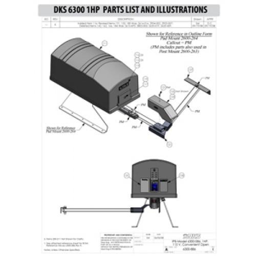 Replacement Parts Diagram - DoorKing 6300 1 HP Parts Diagram