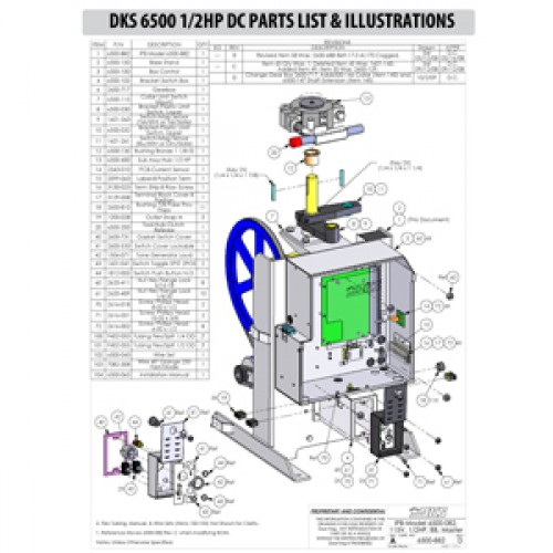 Replacement Parts Diagram - DoorKing 6500 1/2 HP with DC Option Parts Diagram