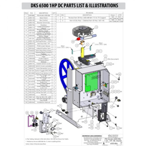 Replacement Parts Diagram - DoorKing 6500 1 HP with DC Option Parts Diagram