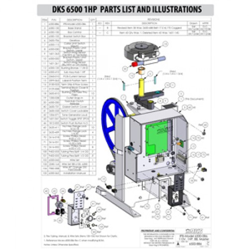 Replacement Parts Diagram - DoorKing 6500 1 HP Parts Diagram