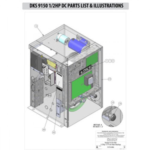 Replacement Parts Diagram - DoorKing 9150 1/2 HP with DC Option Parts Diagram