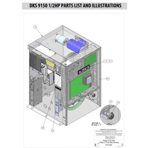 Replacement Parts Diagram - DoorKing 9150 1/2 HP Parts Diagram