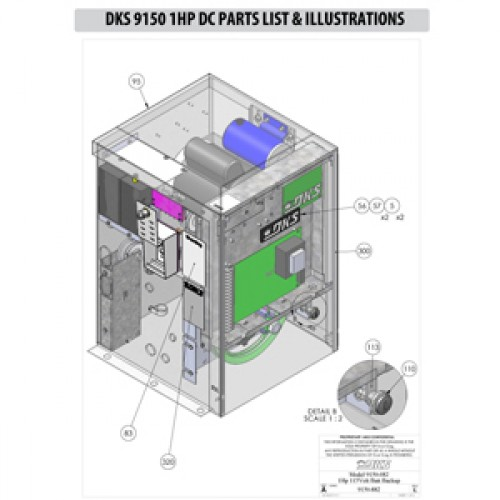 Replacement Parts Diagram - DoorKing 9150 1 HP with DC Option Parts Diagram