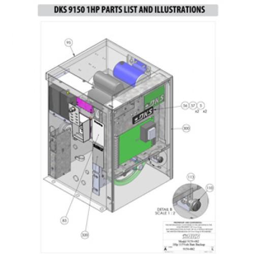 Replacement Parts Diagram - DoorKing 9150 1 HP Parts Diagram