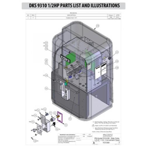 Replacement Parts Diagram - DoorKing 9310 1/2 HP Parts Diagram