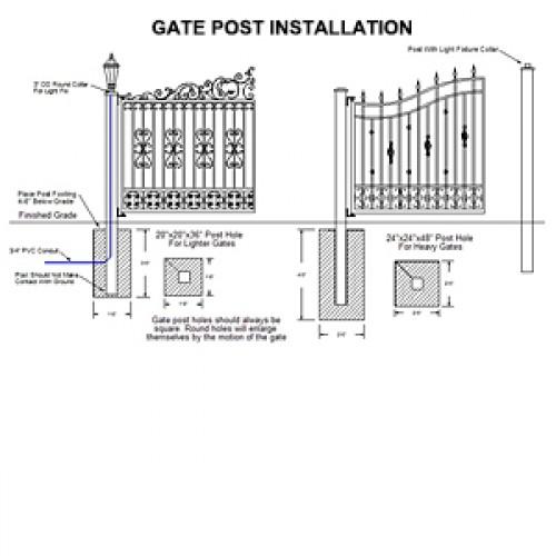 Driveway Gate Post Installation Diagram