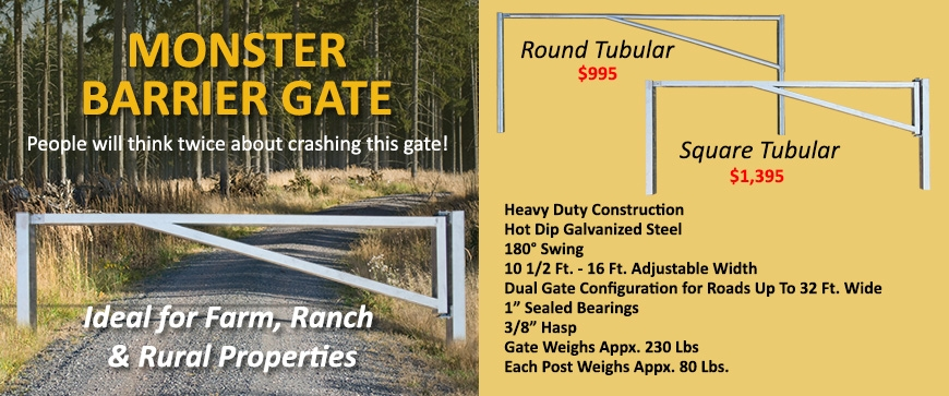 Barrier Gate for Farm Ranch Rural Property