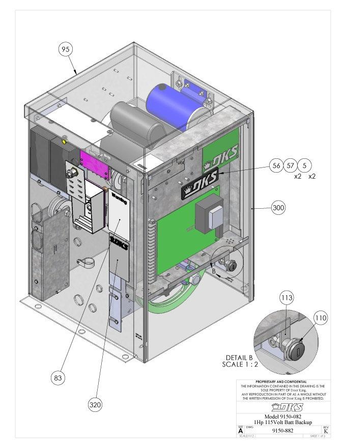 Replacement Parts Diagram - DoorKing 9150 1 HP with DC