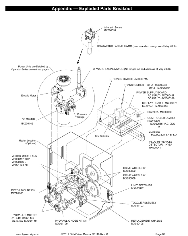 hysecurity slidedriver 15, 30f 40, 80, 200 parts diagram