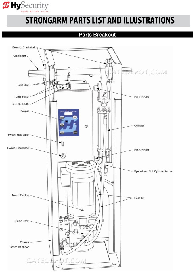 Replacement Parts Diagram - HySecurity Strongarm Parts Diagram