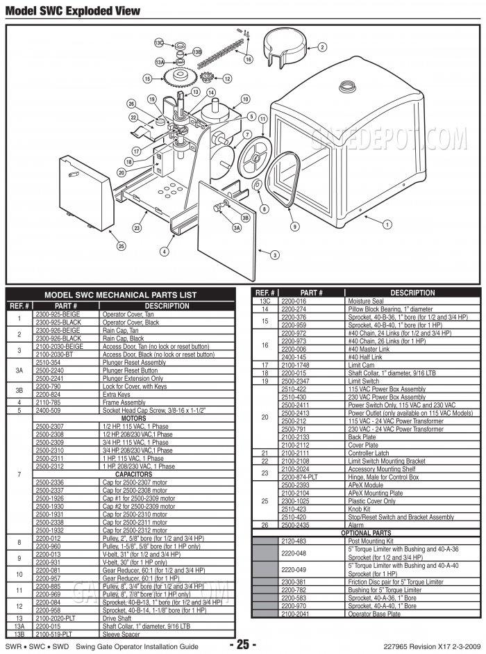 replacement parts diagram linear osco swc parts diagram. Black Bedroom Furniture Sets. Home Design Ideas