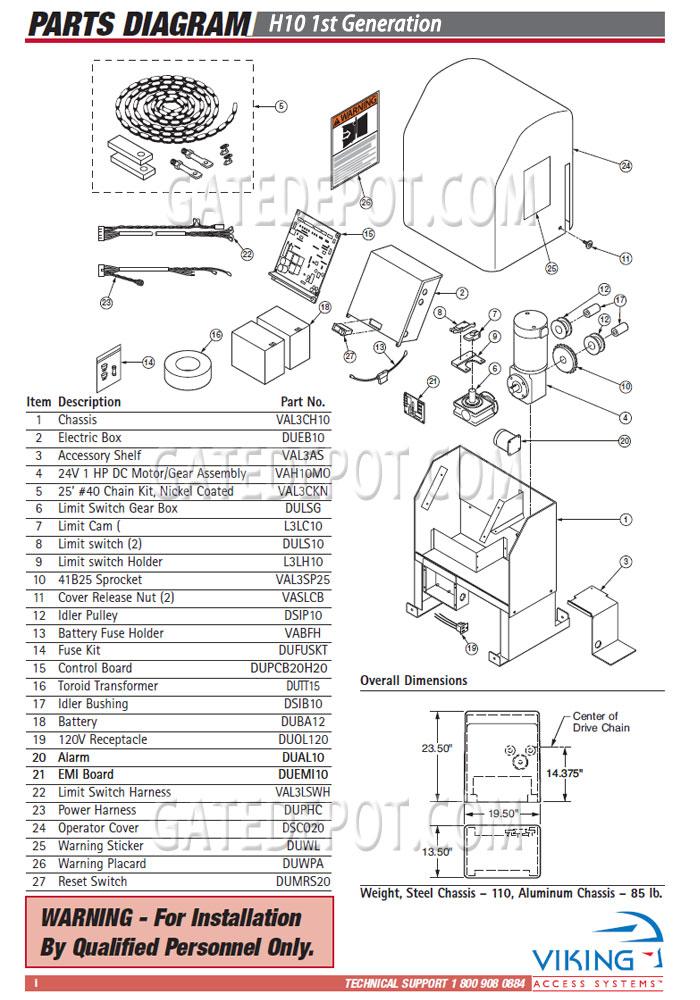 Replacement Parts    Diagram     Viking Access H10  1st Gen